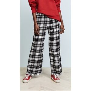 MARC JACOBS Plaid silk-chiffon wide-leg pants